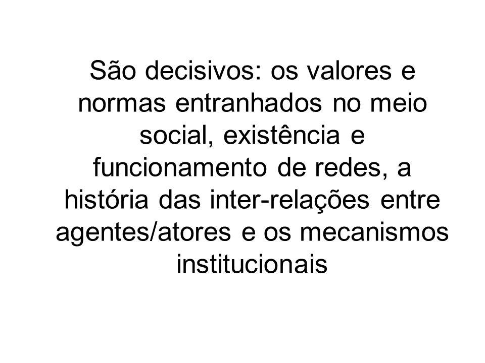 São decisivos: os valores e normas entranhados no meio social, existência e funcionamento de redes, a história das inter-relações entre agentes/atores e os mecanismos institucionais