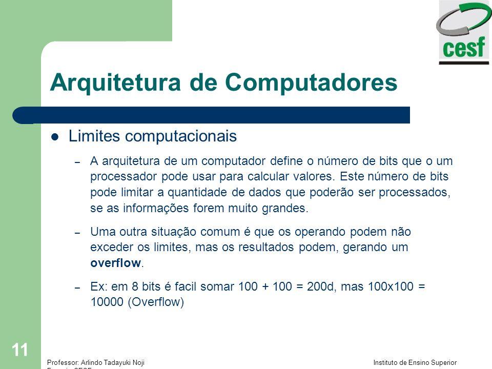 Professor: Arlindo Tadayuki Noji Instituto de Ensino Superior Fucapi - CESF 11 Arquitetura de Computadores Limites computacionais – A arquitetura de u