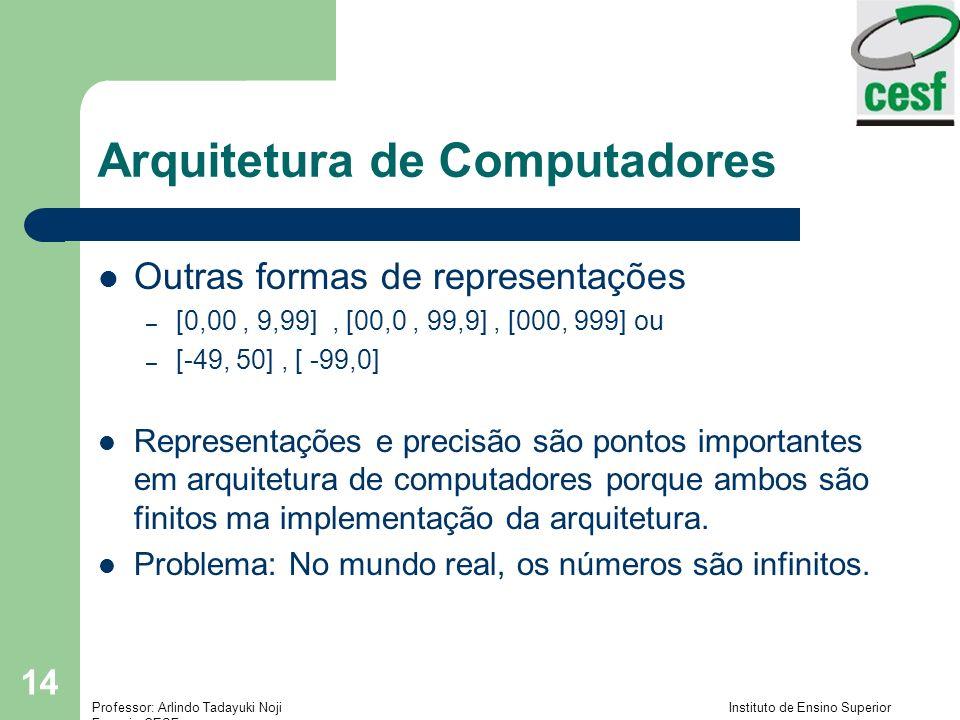 Professor: Arlindo Tadayuki Noji Instituto de Ensino Superior Fucapi - CESF 14 Arquitetura de Computadores Outras formas de representações – [0,00, 9,
