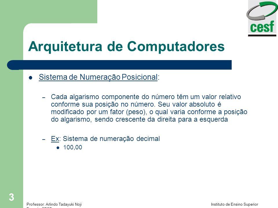 Professor: Arlindo Tadayuki Noji Instituto de Ensino Superior Fucapi - CESF 4 Arquitetura de Computadores Algarismos e Números: – Em vez de criar infinitos símbolos (algarismos) para representar cada número desejado, pode-se agrupar valores e simplificar sua representação – Ex: No base 10, até o valor 9, os números são escritos com algarismos diferentes, mas o valor seguinte, 10, é representado por 2 algarismos (1 e 0), pois não temos o algarismo 10 10 = 1 (grupo de 10 unidades) + 0 (unidades) O que fazemos para representar o valor 10 .