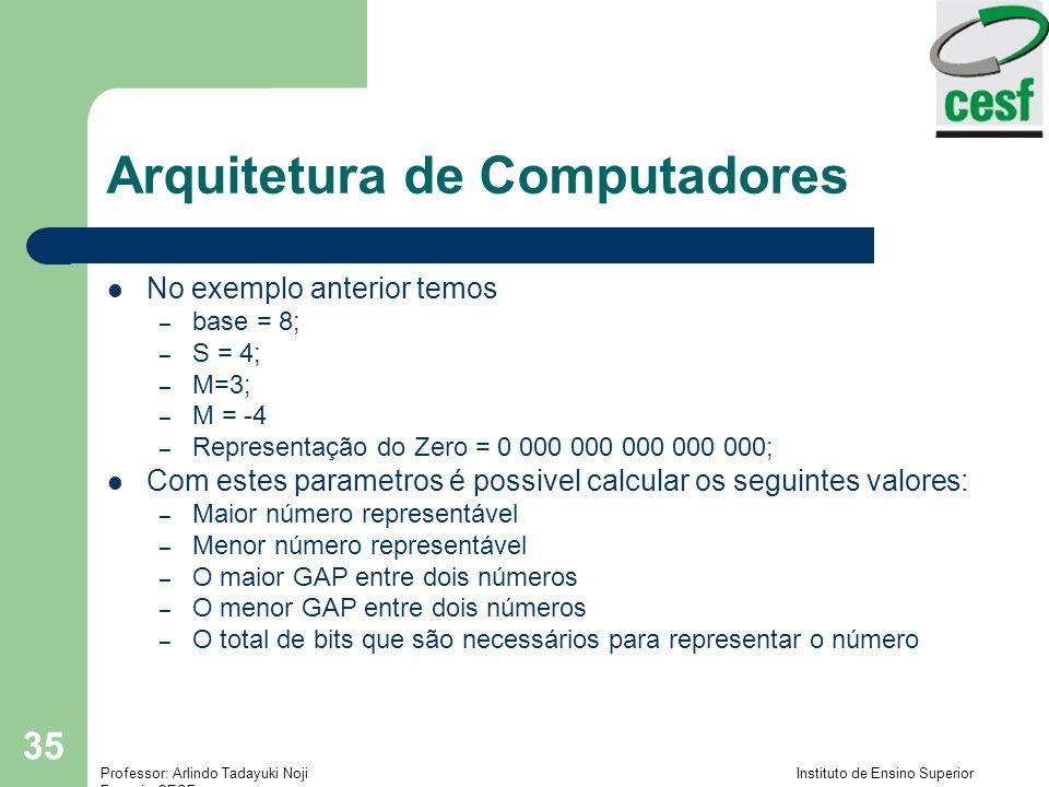 Professor: Arlindo Tadayuki Noji Instituto de Ensino Superior Fucapi - CESF 35 Arquitetura de Computadores No exemplo anterior temos – base = 8; – S =