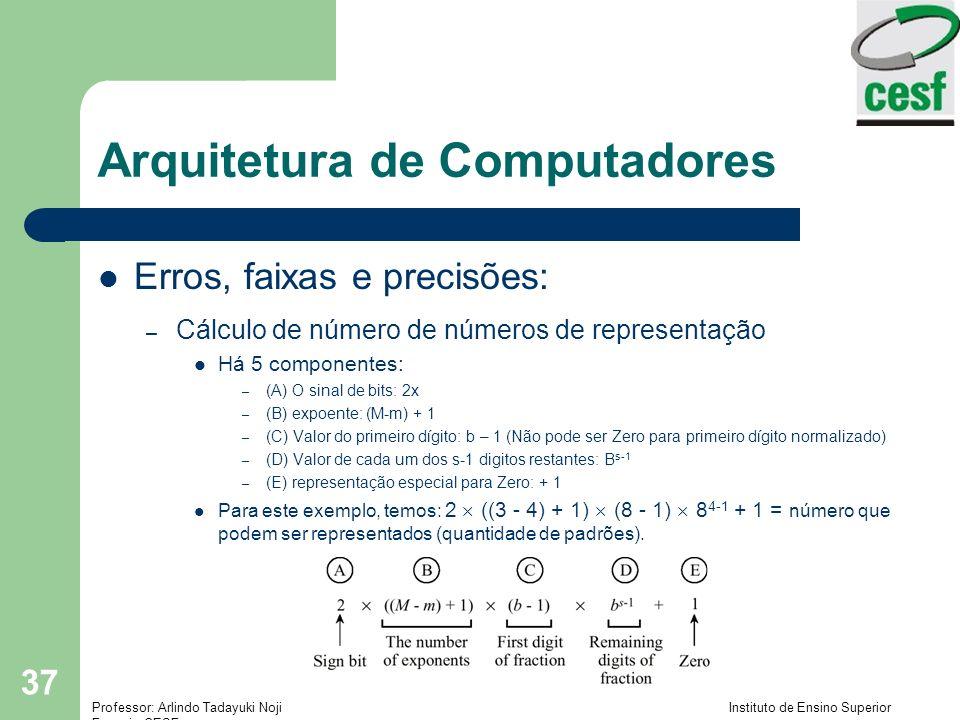 Professor: Arlindo Tadayuki Noji Instituto de Ensino Superior Fucapi - CESF 37 Arquitetura de Computadores Erros, faixas e precisões: – Cálculo de núm