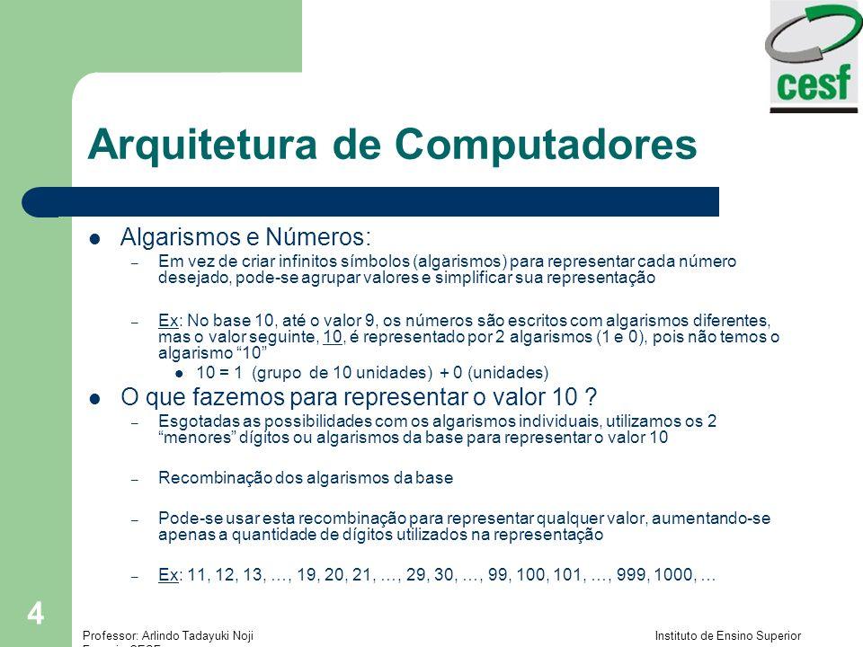 Professor: Arlindo Tadayuki Noji Instituto de Ensino Superior Fucapi - CESF 5 Arquitetura de Computadores BASE: quantidade de símbolos ou dígitos ou algarismos diferentes que o referido sistema emprega para representar os números Toda a estrutura de formação dos números e realização de operações aritméticas em um sistema posicional está relacionada com o valor da BASE do referido sistema Sistema Decimal: 10 símbolos (base 10) 0, 1, 2, 3, 4, 5, 6, 7, 8, 9 Sistema Binário: 2 símbolos (base 2) 0, 1 Sistema Hexadecimal: 16 símbolos (base 16) 0, 1, 2, 3, 4, 5, 6, 7, 8, 9, A, B, C, D, E, F