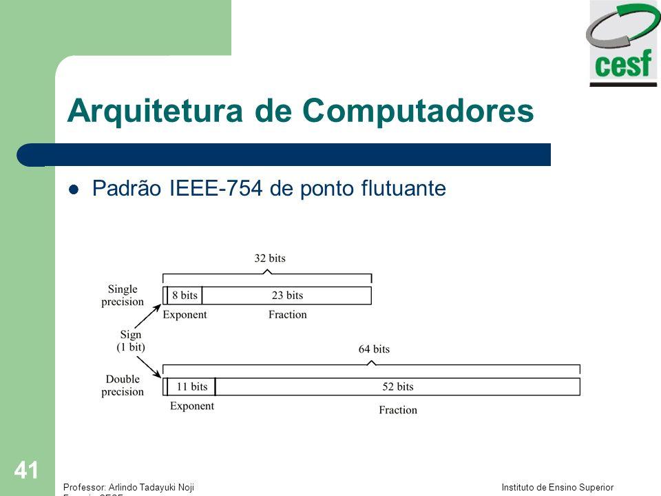 Professor: Arlindo Tadayuki Noji Instituto de Ensino Superior Fucapi - CESF 41 Arquitetura de Computadores Padrão IEEE-754 de ponto flutuante