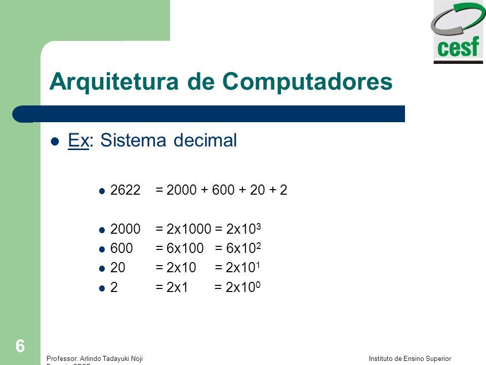 Professor: Arlindo Tadayuki Noji Instituto de Ensino Superior Fucapi - CESF 17 Arquitetura de Computadores Convertendo números de pontos fixos: Exemplo: Convertendo 23,375 10 para base binária – A conversão é feita em 2 etapas: Parte INTEIRA + parte FRACIONÁRIA (se houver) PARTE INTEIRA: Continuação – Em cada divisão, o resto encontrado é um algarismo significativo do número na nova base – O primeiro resto encontrado é o valor do algarismo menos significativo (mais à direita) e o último será o algarismo mais significativo (mais à esquerda) – Toda a aritmética envolvida no cálculo é da base de origem (neste caso, base 10) – Utilizar uma tabela de equivalência dos algarismos das bases K e 10, para saber como representar os algarismos encontrados (resto), se necessário, na base K