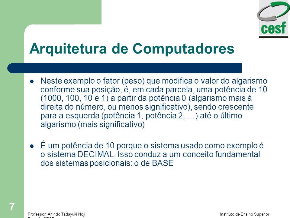 Professor: Arlindo Tadayuki Noji Instituto de Ensino Superior Fucapi - CESF 28 Arquitetura de Computadores Representação de Excesso – O número é tratado sem sinal, então o valor é deslocado (shifted) do mesmo.
