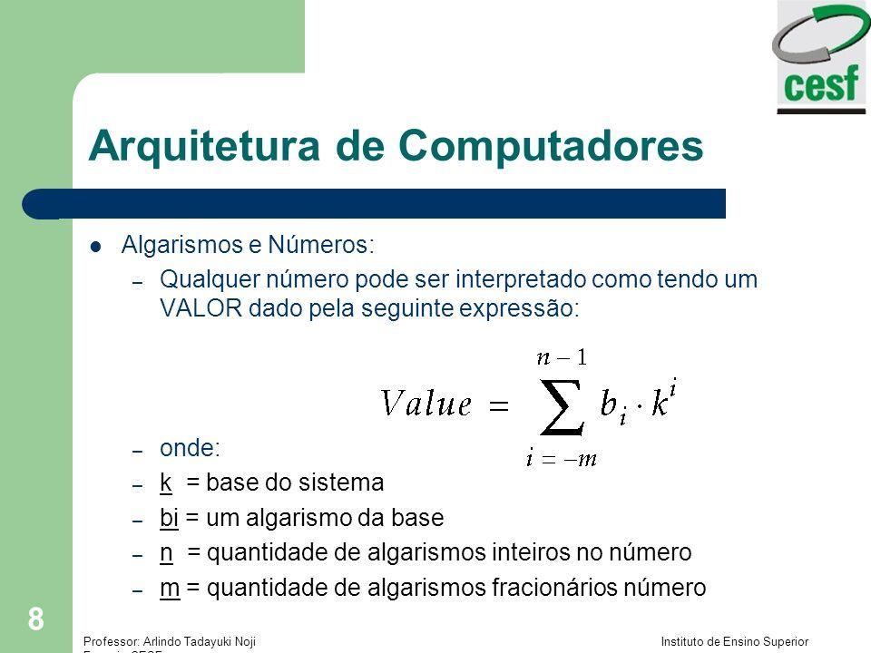 Professor: Arlindo Tadayuki Noji Instituto de Ensino Superior Fucapi - CESF 9 Arquitetura de Computadores Ex: 541.25 10 = 5 10 2 + 4 10 1 + 1 10 0 + 2 10 -1 + 5 10 -2 = (500) 10 + (40) 10 + (1) 10 + (2/10) 10 + (5/100) 10 = (541.25) 10 Onde temos: – k = base do sistema = 10 – bi(s) = algarismos = 5, 4, 1, 2, 5 – n = qtd algarismos inteiros = 3(5, 4, 1) – m = qtd algarismos fracionários = 2(2, 5)