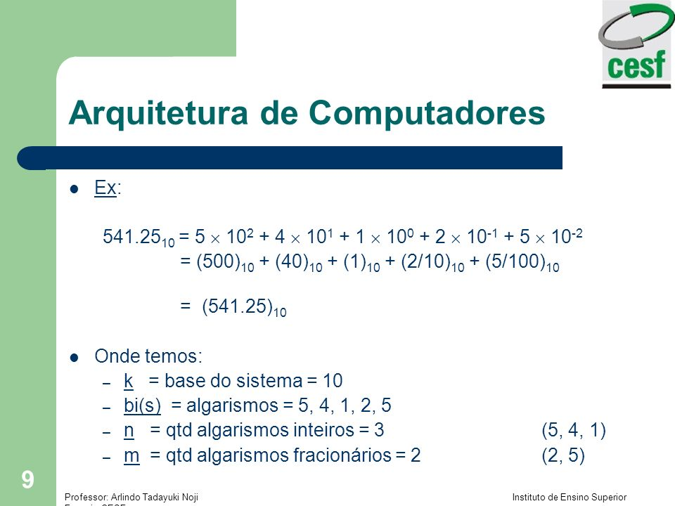 Professor: Arlindo Tadayuki Noji Instituto de Ensino Superior Fucapi - CESF 40 Arquitetura de Computadores Conversão de números – Converter (9.375 10 -2 ) 10 na base 2 da notação científica – Tirar a notação científica:.09275 – Converter em notação binária :.09375 2=0.1875.1875 2=0.375.375 2=0.75.75 2=1.5.5 2=1.0 – Portanto: (.09375) 10 = (.00011) 2.