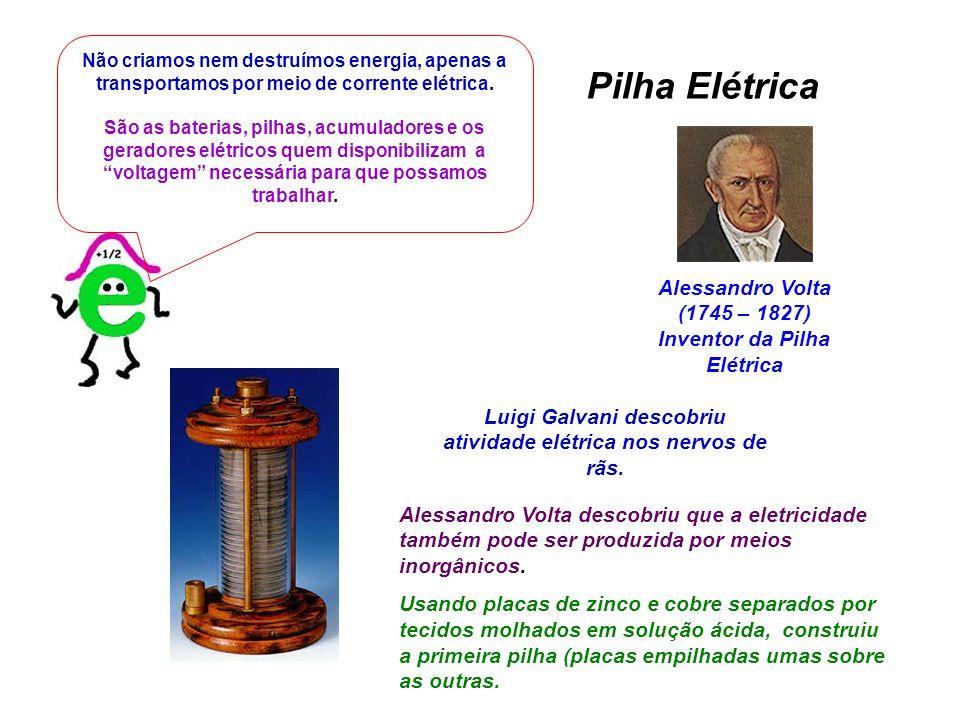 Alessandro Volta (1745 – 1827) Inventor da Pilha Elétrica Não criamos nem destruímos energia, apenas a transportamos por meio de corrente elétrica. Sã