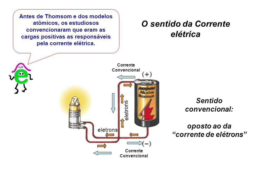 Antes de Thomsom e dos modelos atômicos, os estudiosos convencionaram que eram as cargas positivas as responsáveis pela corrente elétrica. O sentido d