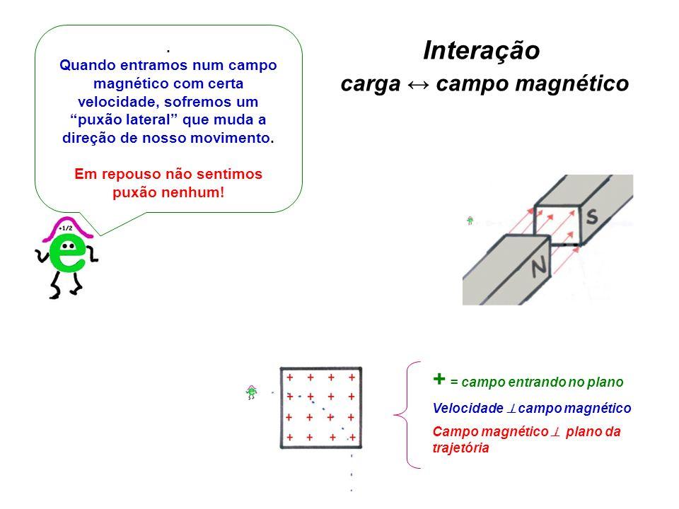 . Quando entramos num campo magnético com certa velocidade, sofremos um puxão lateral que muda a direção de nosso movimento. Em repouso não sentimos p