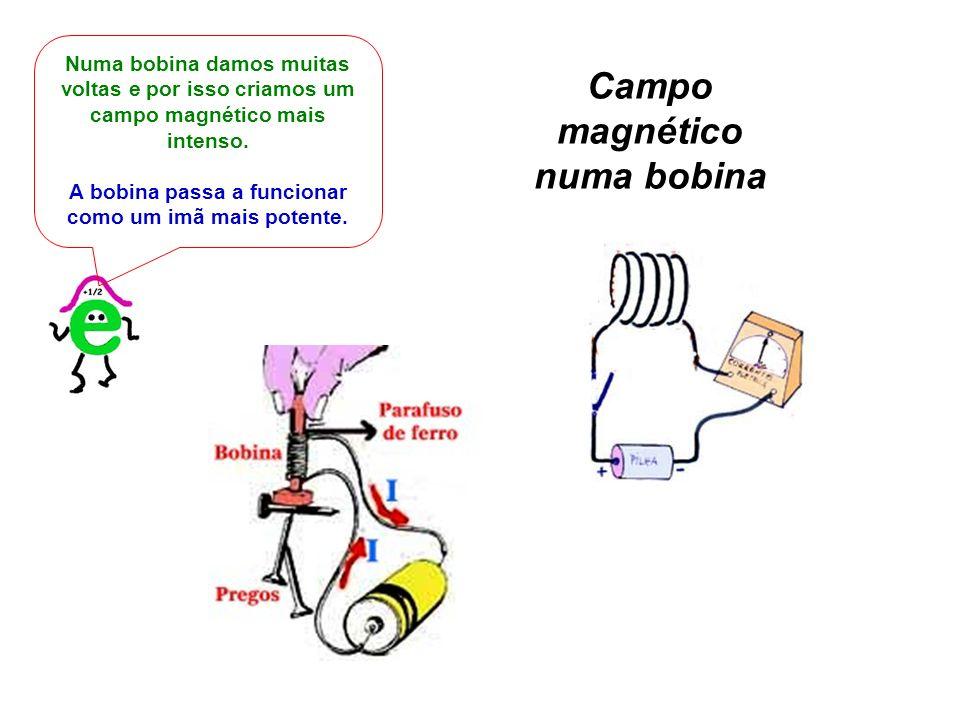 Numa bobina damos muitas voltas e por isso criamos um campo magnético mais intenso. A bobina passa a funcionar como um imã mais potente. Campo magnéti