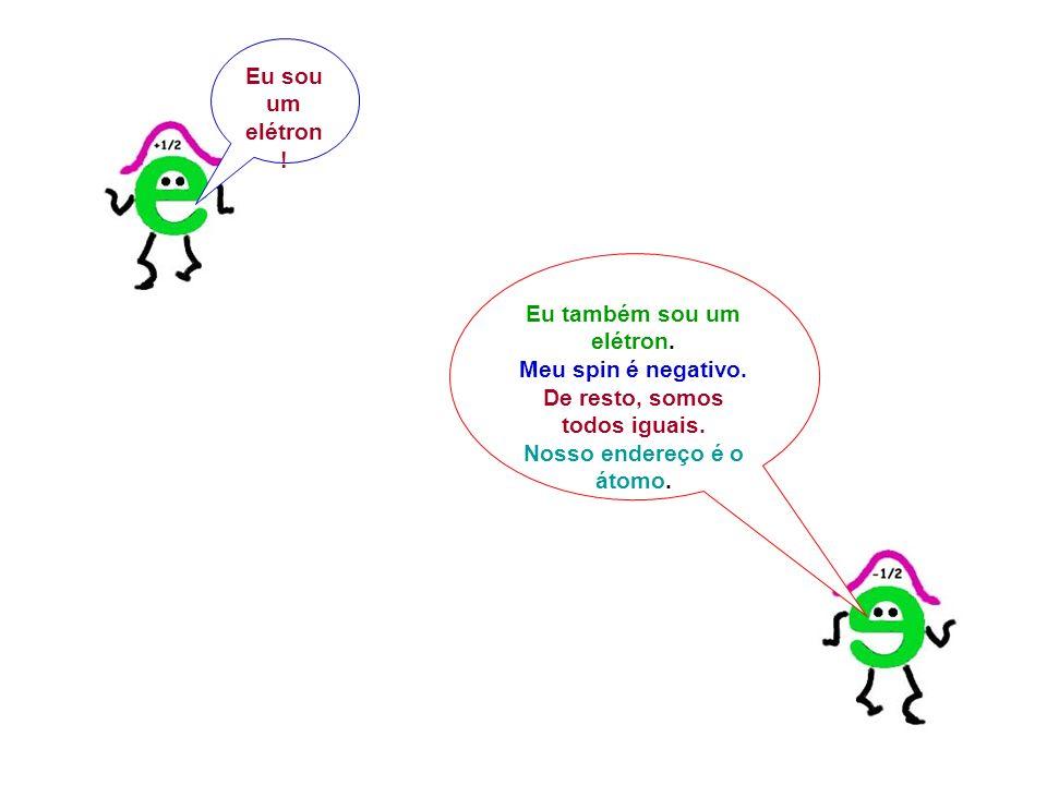 Eu sou um elétron ! Eu também sou um elétron. Meu spin é negativo. De resto, somos todos iguais. Nosso endereço é o átomo.