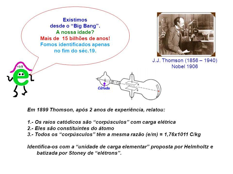Existimos desde o Big Bang. A nossa idade? Mais de 15 bilhões de anos! Fomos identificados apenas no fim do séc.19. J.J. Thomson (1856 – 1940) Nobel 1