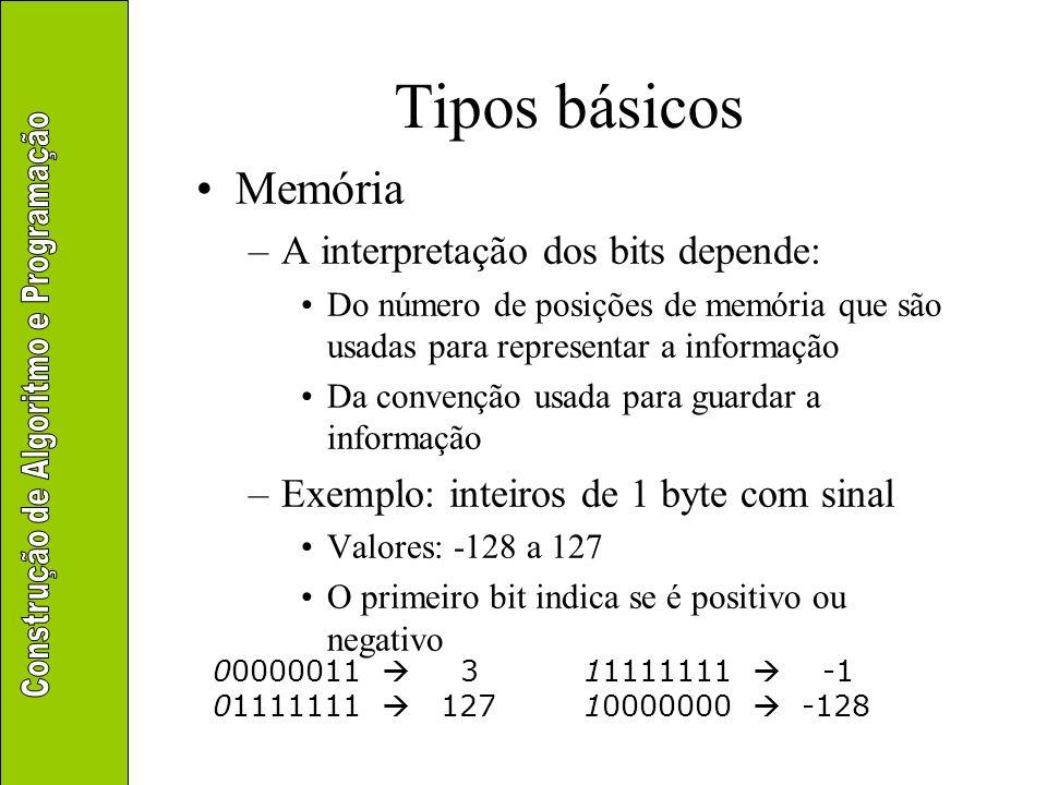 Tipos básicos Memória –A interpretação dos bits depende: Do número de posições de memória que são usadas para representar a informação Da convenção us