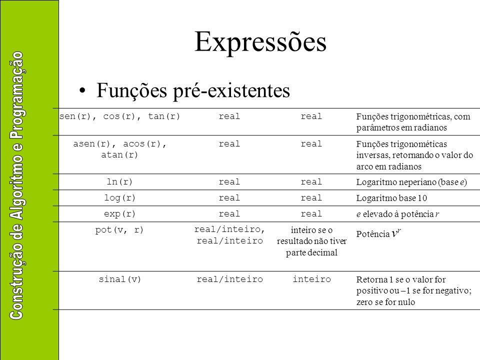 Expressões Funções pré-existentes sen(r), cos(r), tan(r)real Funções trigonométricas, com parâmetros em radianos asen(r), acos(r), atan(r) real Funçõe