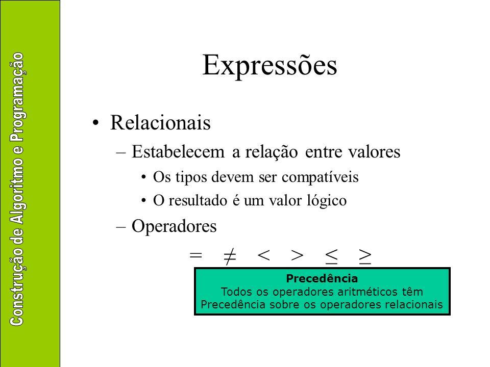 Expressões Relacionais –Estabelecem a relação entre valores Os tipos devem ser compatíveis O resultado é um valor lógico –Operadores = Precedência Tod