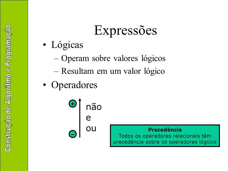 Expressões Lógicas –Operam sobre valores lógicos –Resultam em um valor lógico Operadores não e ou + – Precedência Todos os operadores relacionais têm