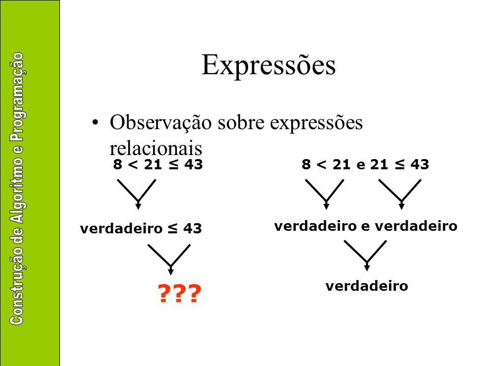 Expressões Observação sobre expressões relacionais 8 < 21 43 ??? verdadeiro 43 8 < 21 e 21 43 verdadeiro e verdadeiro verdadeiro