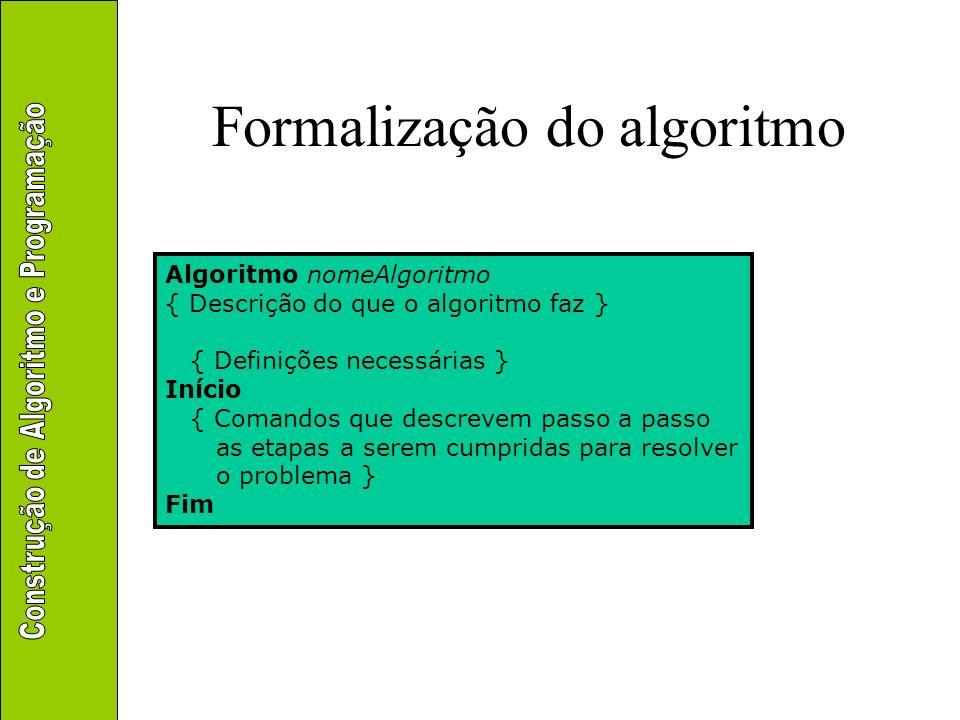 Formalização do algoritmo Algoritmo nomeAlgoritmo { Descrição do que o algoritmo faz } { Definições necessárias } Início { Comandos que descrevem pass