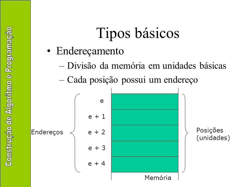 Tipos básicos Endereçamento –Divisão da memória em unidades básicas –Cada posição possui um endereço Memória Posições (unidades) e e + 1 e + 2 e + 3 e
