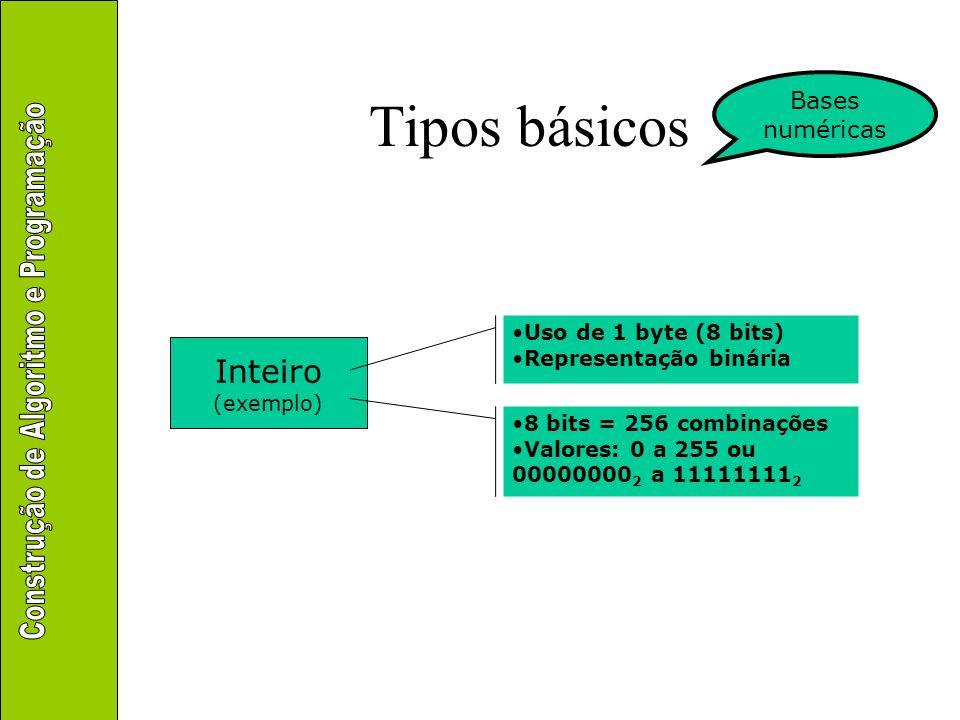 Tipos básicos Inteiro (exemplo) Uso de 1 byte (8 bits) Representação binária 8 bits = 256 combinações Valores: 0 a 255 ou 00000000 2 a 11111111 2 Base