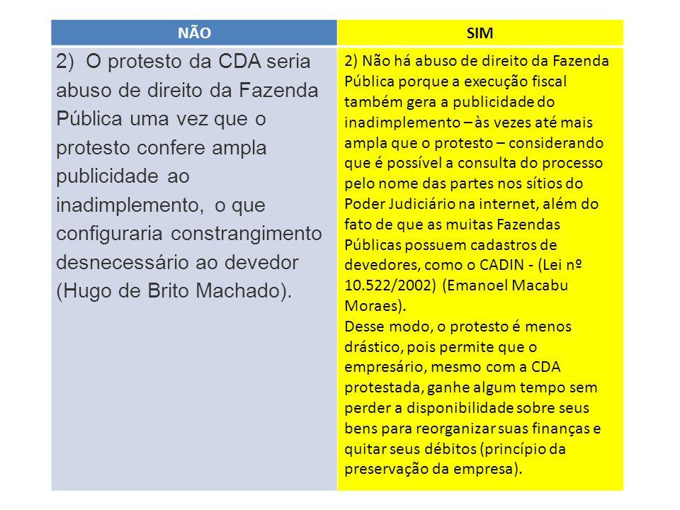 NÃOSIM 2) O protesto da CDA seria abuso de direito da Fazenda Pública uma vez que o protesto confere ampla publicidade ao inadimplemento, o que config