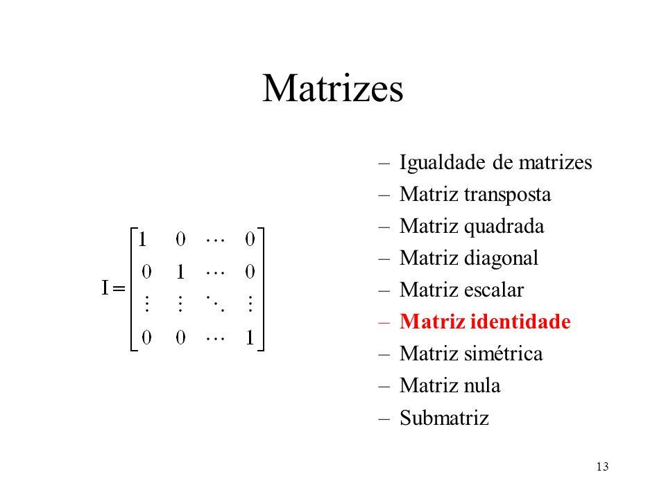 13 Matrizes –Igualdade de matrizes –Matriz transposta –Matriz quadrada –Matriz diagonal –Matriz escalar –Matriz identidade –Matriz simétrica –Matriz n