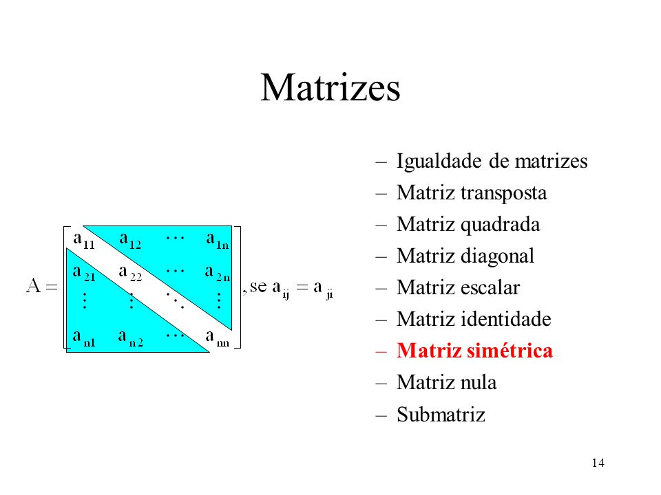 14 Matrizes –Igualdade de matrizes –Matriz transposta –Matriz quadrada –Matriz diagonal –Matriz escalar –Matriz identidade –Matriz simétrica –Matriz n