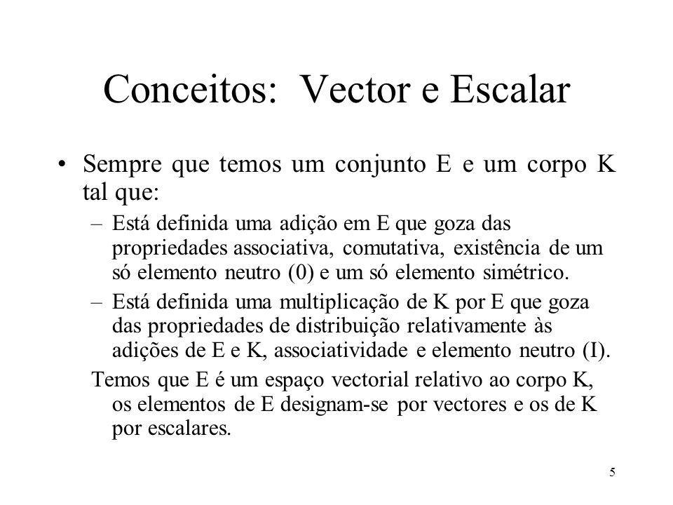 5 Conceitos: Vector e Escalar Sempre que temos um conjunto E e um corpo K tal que: –Está definida uma adição em E que goza das propriedades associativ