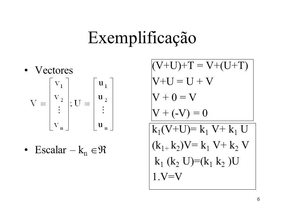 6 Exemplificação Vectores Escalar – k n (V+U)+T = V+(U+T) V+U = U + V V + 0 = V V + (-V) = 0 k 1 (V+U)= k 1 V+ k 1 U (k 1+ k 2 )V= k 1 V+ k 2 V k 1 (k