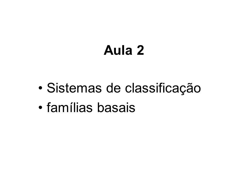 Aula 2 Sistemas de classificação famílias basais