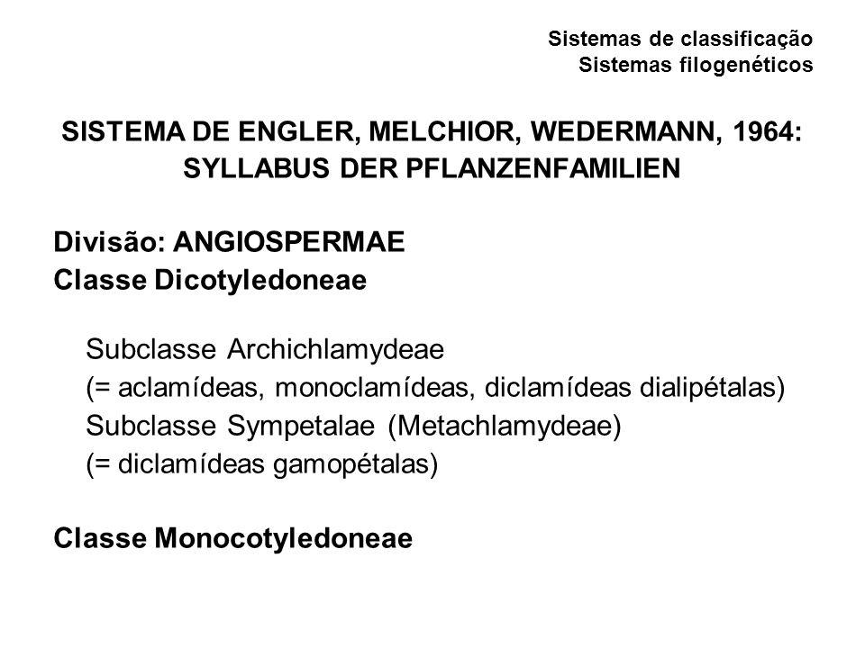 Sistemas de classificação Sistemas filogenéticos SISTEMA DE ENGLER, MELCHIOR, WEDERMANN, 1964: SYLLABUS DER PFLANZENFAMILIEN Divisão: ANGIOSPERMAE Cla