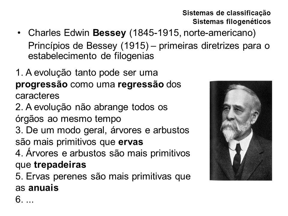 Sistemas de classificação Sistemas filogenéticos Charles Edwin Bessey (1845-1915, norte-americano) Princípios de Bessey (1915) – primeiras diretrizes