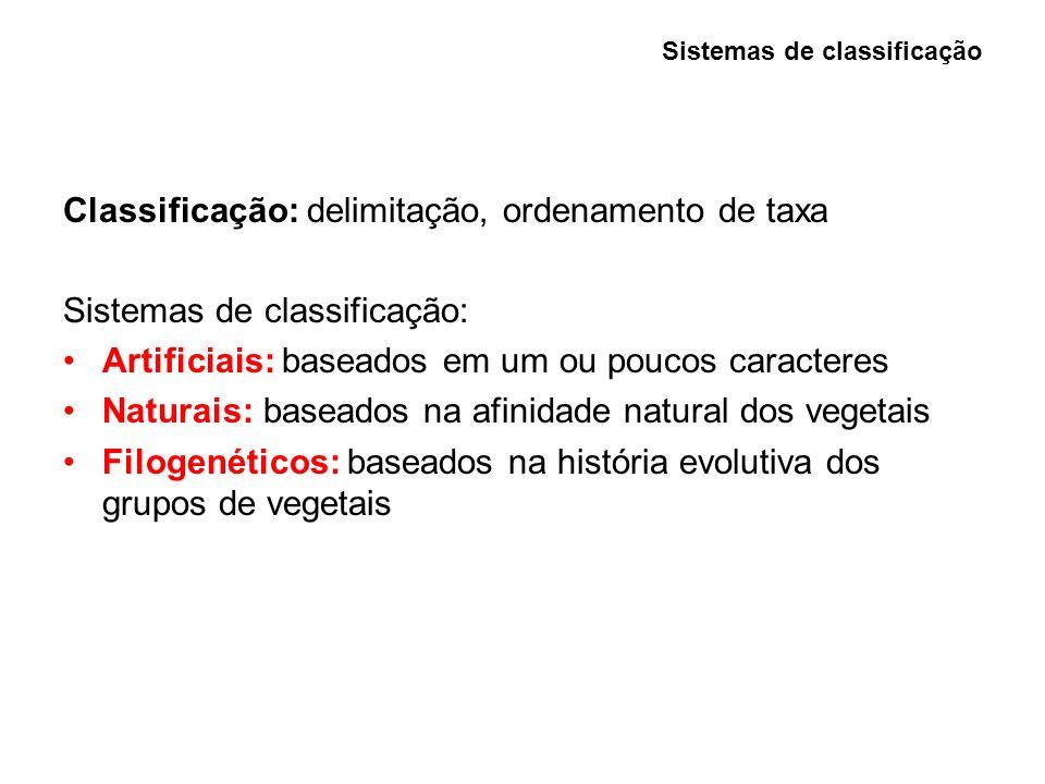 Sistemas artificiais - (1580 até cerca de 1760) Período descritivo: hábito vegetativo, tipos de inflorescência Teophrastus (370-285 aC, grego) Pai da Botânica- Pupilo de Aristóteles Andreas Caesalpinus (1519-1603, italiano) 1583 - expressou necessidade de um sistema ser: (1) fácil de usar, (2) estável, (3) de fácil memorização, (4) preditivo, (5) conciso Período de utilização de caracteres numéricos: caracteres de fácil reconhecimento (raízes, folhas, flores e frutos) poucos caracteres pesos escolhidos a priori Sistemas de classificação Sistemas artificiais