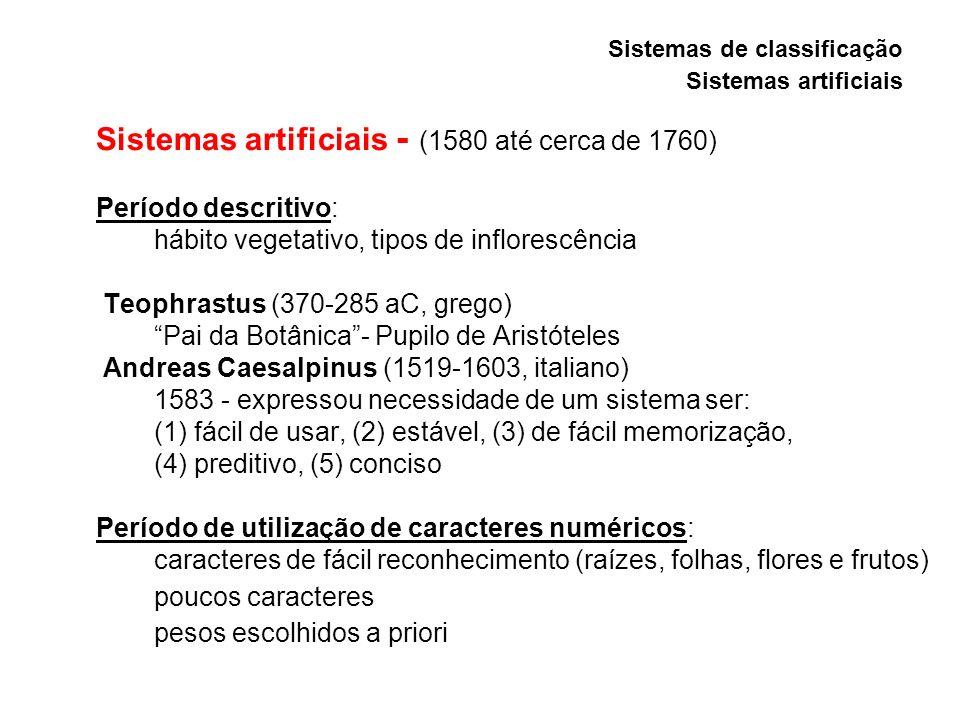 Sistemas artificiais - (1580 até cerca de 1760) Período descritivo: hábito vegetativo, tipos de inflorescência Teophrastus (370-285 aC, grego) Pai da