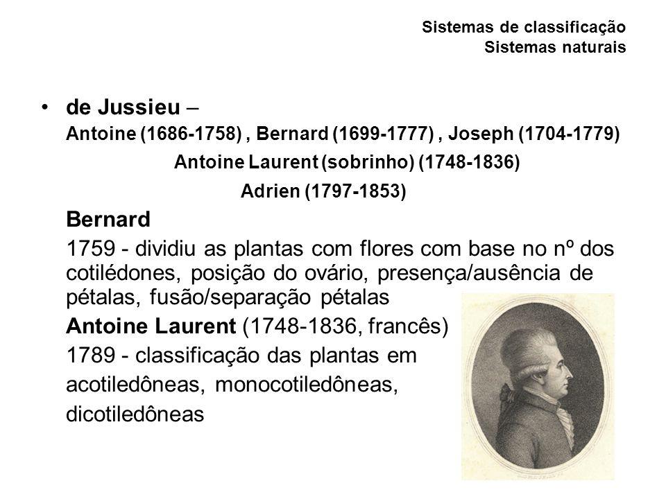 Sistemas de classificação Sistemas naturais de Candolle – Augustin Pyramus (1778-1841, suíço) Alphonse Louis (1806-1893, franco-suíço) 1819 e 1873 - Prodromus systematis naturalis regni vegetabilis Classificaram e descreveram todas as espécies de plantas com sementes conhecidas Uso de características anatômicas