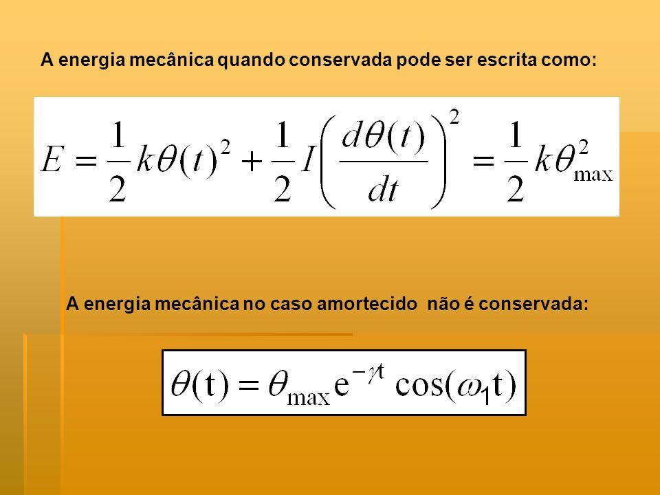 A energia mecânica quando conservada pode ser escrita como: A energia mecânica no caso amortecido não é conservada: