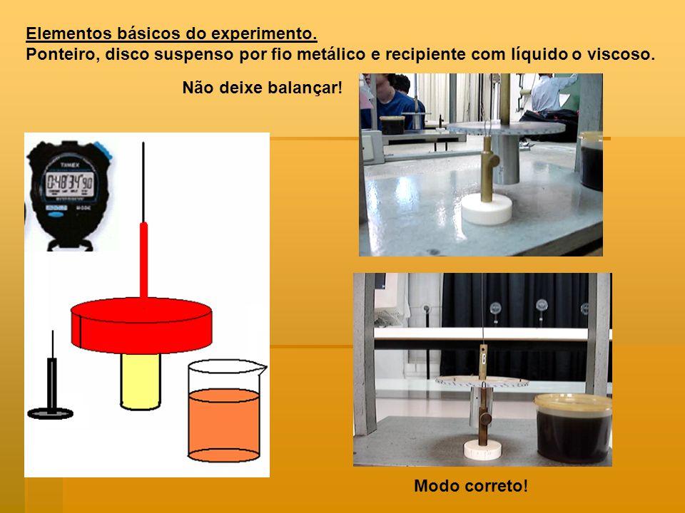 Elementos básicos do experimento. Ponteiro, disco suspenso por fio metálico e recipiente com líquido o viscoso. Não deixe balançar! Modo correto!