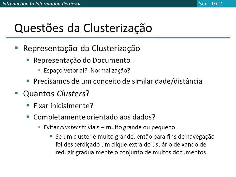 Introduction to Information Retrieval Questões da Clusterização Representação da Clusterização Representação do Documento Espaço Vetorial? Normalizaçã