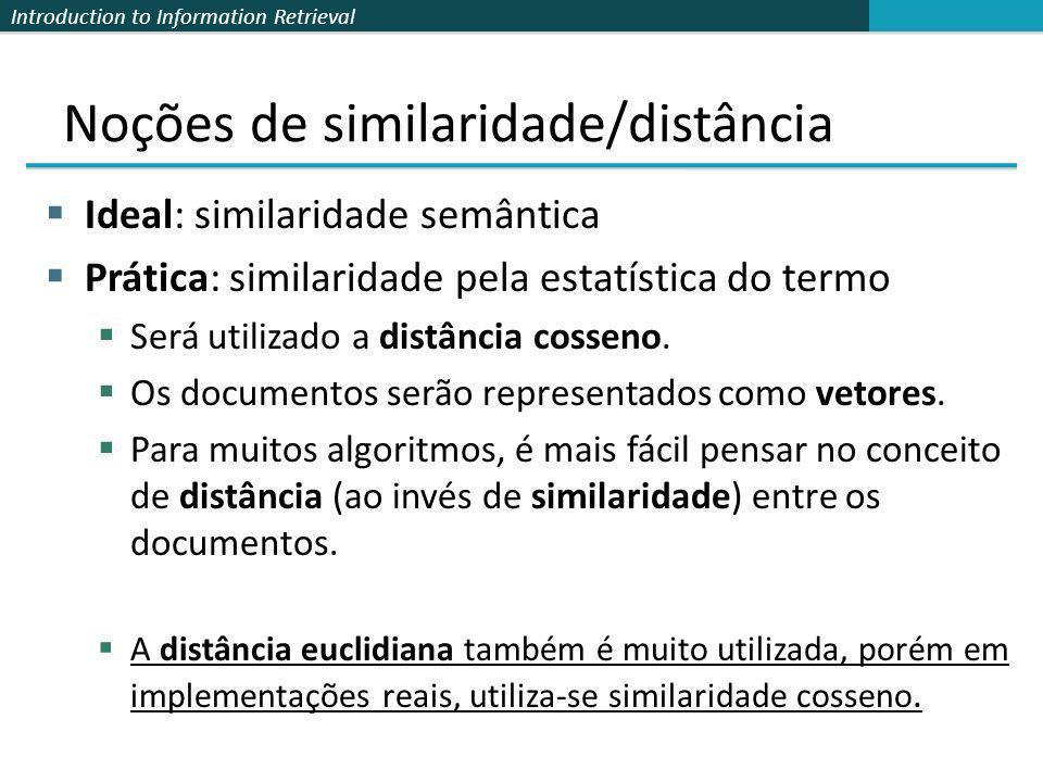 Introduction to Information Retrieval Noções de similaridade/distância Ideal: similaridade semântica Prática: similaridade pela estatística do termo S