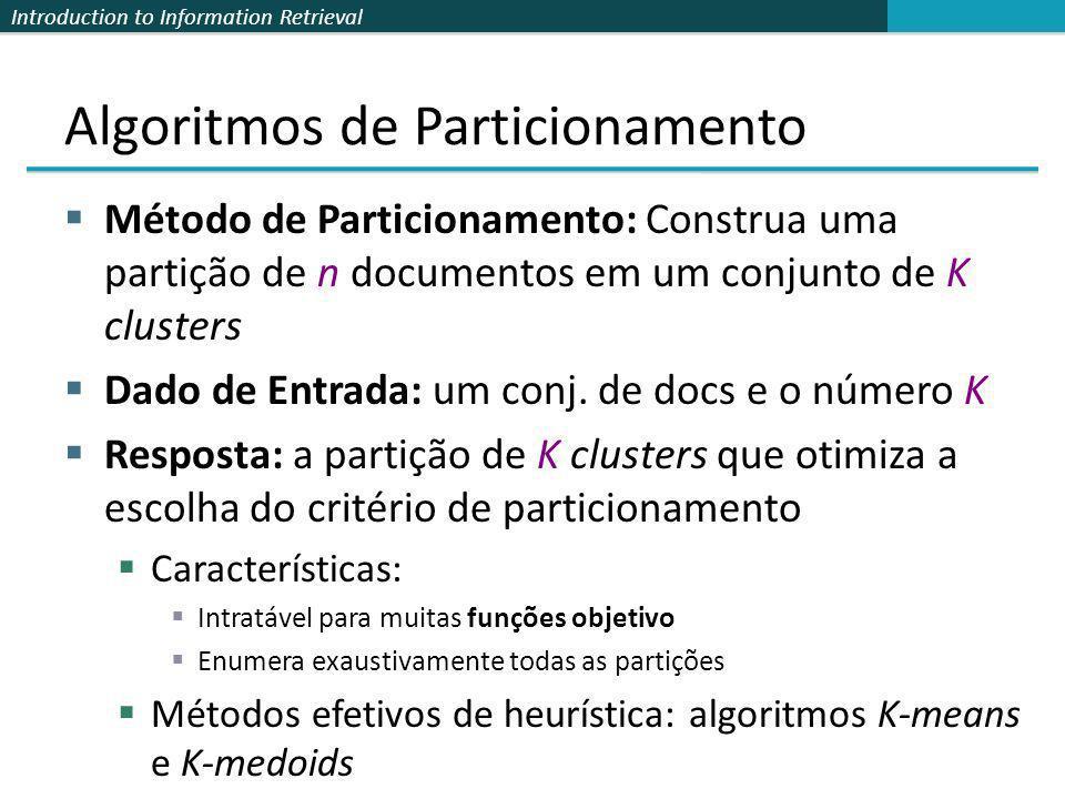 Introduction to Information Retrieval Algoritmos de Particionamento Método de Particionamento: Construa uma partição de n documentos em um conjunto de