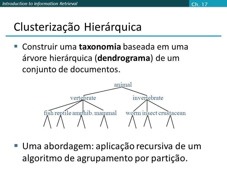 Introduction to Information Retrieval Clusterização Hierárquica Construir uma taxonomia baseada em uma árvore hierárquica (dendrograma) de um conjunto