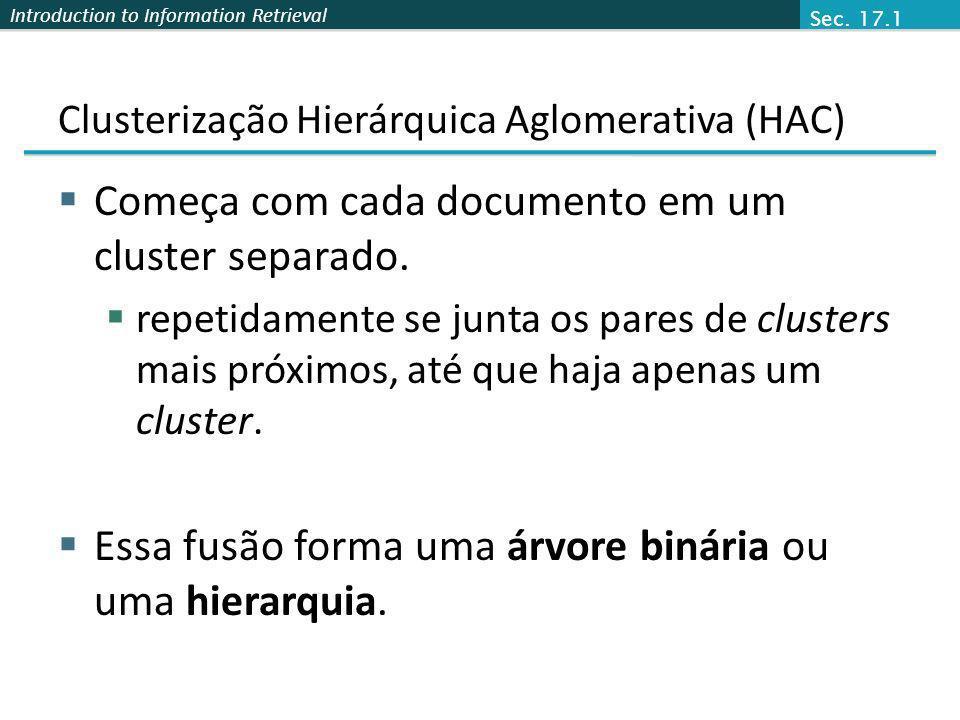 Introduction to Information Retrieval Clusterização Hierárquica Aglomerativa (HAC) Começa com cada documento em um cluster separado. repetidamente se