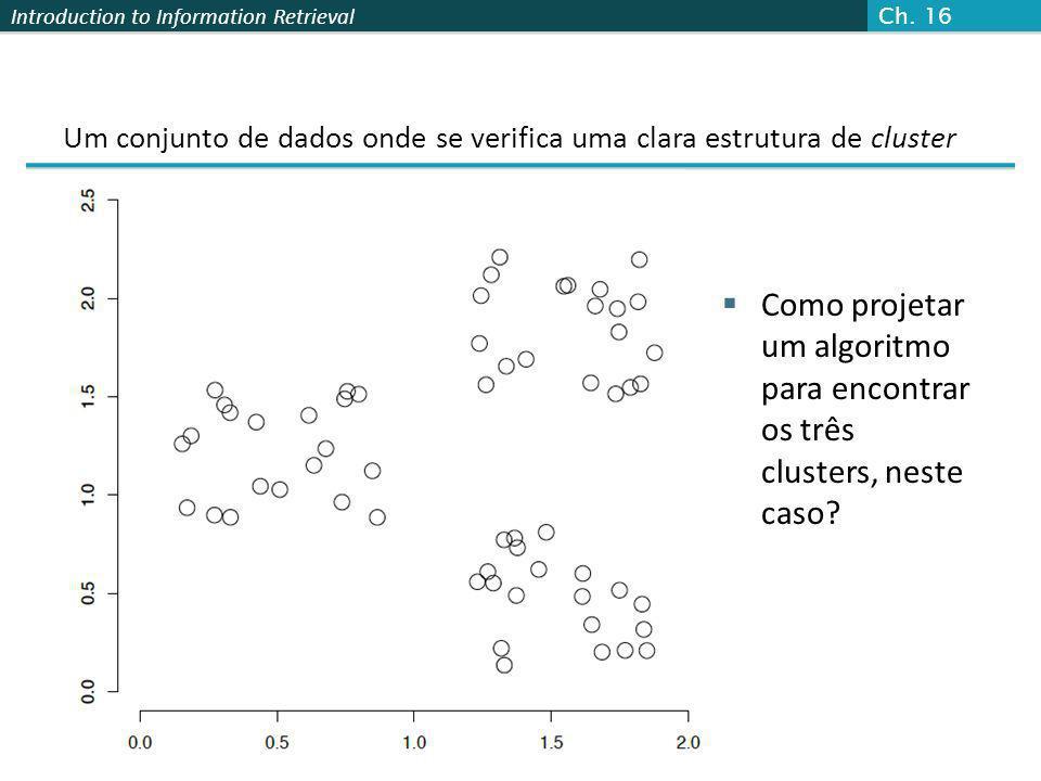 Introduction to Information Retrieval Cluster ICluster IICluster III Cluster I: Purity = 1/6 (max(5, 1, 0)) = 5/6 Cluster II: Purity = 1/6 (max(1, 4, 1)) = 4/6 Cluster III: Purity = 1/5 (max(2, 0, 3)) = 3/5 Exemplo do cálculo de Pureza Sec.