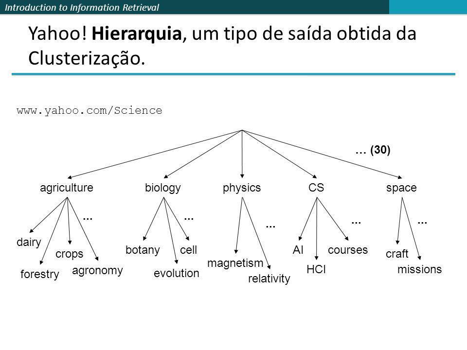 Introduction to Information Retrieval Yahoo! Hierarquia, um tipo de saída obtida da Clusterização. dairy crops agronomy forestry AI HCI craft missions