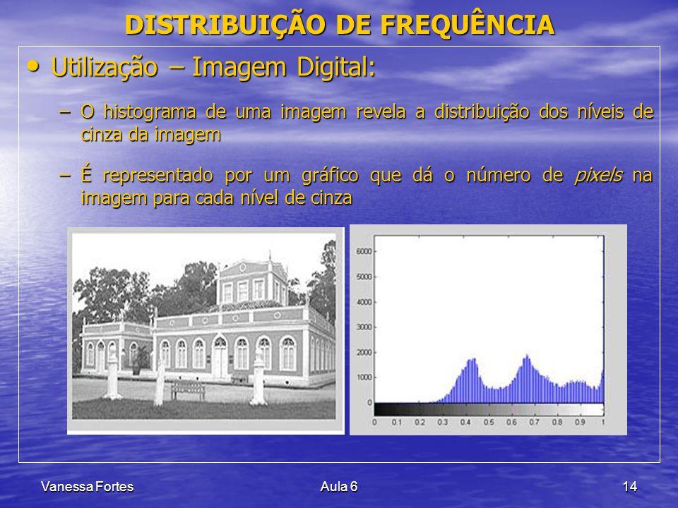 Vanessa FortesAula 614 Utilização – Imagem Digital: Utilização – Imagem Digital: –O histograma de uma imagem revela a distribuição dos níveis de cinza