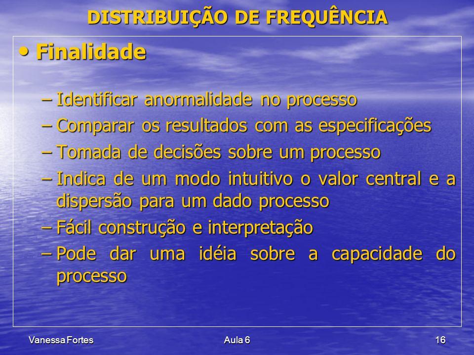 Vanessa FortesAula 616 Finalidade Finalidade –Identificar anormalidade no processo –Comparar os resultados com as especificações –Tomada de decisões s
