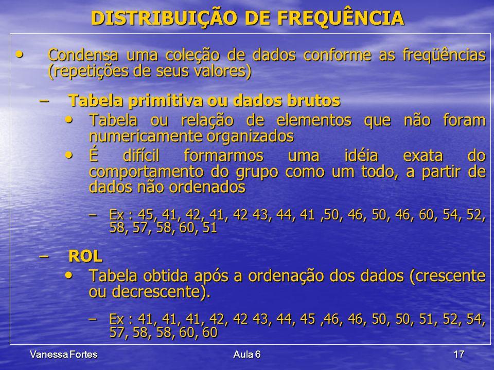 Vanessa FortesAula 617 DISTRIBUIÇÃO DE FREQUÊNCIA Condensa uma coleção de dados conforme as freqüências (repetições de seus valores) Condensa uma cole