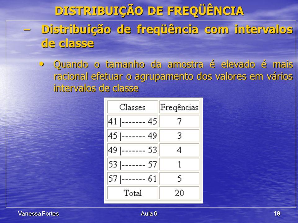 Vanessa FortesAula 619 DISTRIBUIÇÃO DE FREQÜÊNCIA –Distribuição de freqüência com intervalos de classe Quando o tamanho da amostra é elevado é mais ra